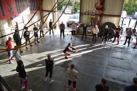 A CrossFit class at CrossFit Inferno in San Luis Obispo, CA